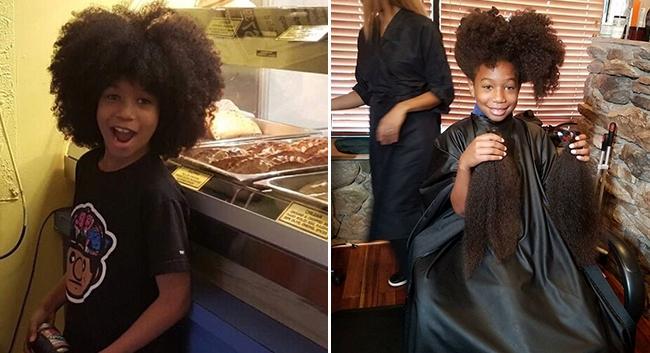 Acest băiat de 8 ani și-a lăsat părul să-i crească pentru a face peruci pentru copiii cu cancer. A câștigat nenumărate inimi